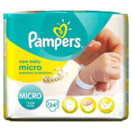 pampers new baby taille micro 1 2 5 kg 24 couches. Black Bedroom Furniture Sets. Home Design Ideas